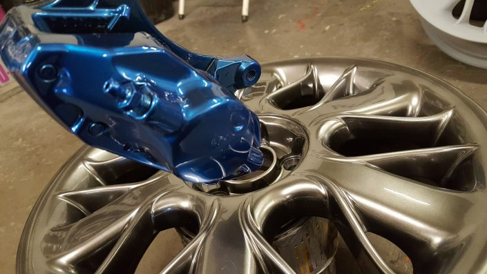 chrome effect paint on brake caliper and refurbished wheel Long Eaton