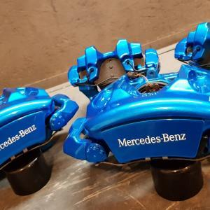 Mercedes E Class brake caliper painting and refurb finished in candy blue