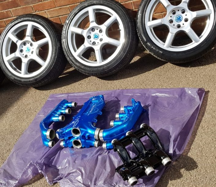 candy blue engine parts and covers painting, hydrodipping and hydrographics