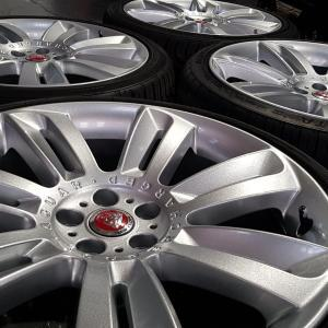 sparkle effect silver paint finish on Jaguar alloy wheels