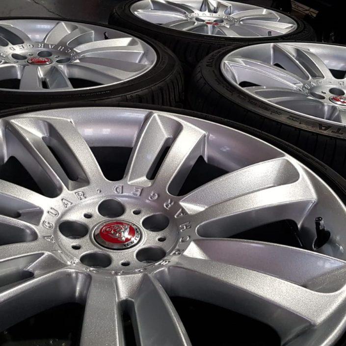 sparkle effect silver paint finish on Jaguar alloy wheels