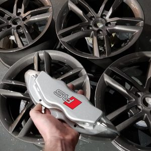 Audi TTRS alloy wheel refurbishment and brake caliper painting package with custom decals