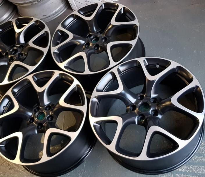 satin black alloy wheel refurbishment with diamond cut - satin finish